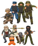 Criminals and SWAT team Stock Images