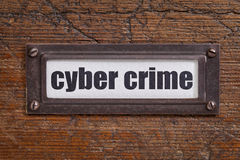 Crimine cyber - etichetta del gabinetto di archivio Fotografia Stock Libera da Diritti