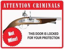 Criminels d'attention de signe Images stock