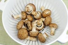 Crimini Mushrooms in a Colander Stock Images