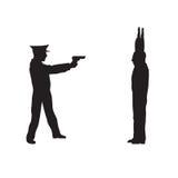 Criminoso, delinquente e agente da polícia Fotos de Stock