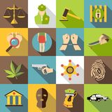 Crimonal icons set, flat style Stock Photo