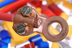 Crimp Terminals electrical accessories. Closeup of Crimp Terminals electrical accessories Royalty Free Stock Photo