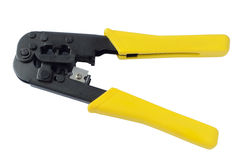 Crimp tool. Tool for crimping network cable Royalty Free Stock Photo