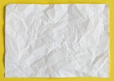 Crimp White Paper texture sheet. Background yellow Stock Photos