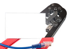 Crimper with cable and blank card Stock Photo