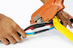 Crimping cable Royalty Free Stock Image