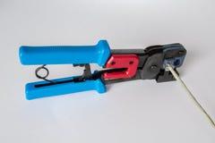 Crimping etherneta kabel Obrazy Stock