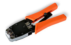 Crimping pliers for twisted pair Royalty Free Stock Images