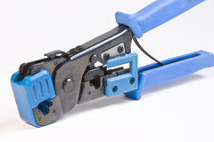 Crimping Tool. Closeup of crimping tool for RJ-45 and RJ-11 cable jacks Stock Photos