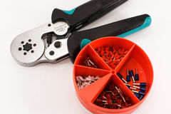 Crimping tool and accessories for cable wiring. stock photos