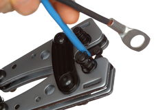 Crimping tool closeup Royalty Free Stock Images