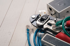Crimping tool with RJ45 connector Stock Photo