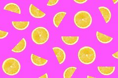 Crimson сolorful pattern of lemon slices stock photos