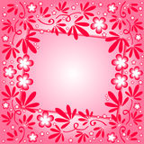 Crimson background with floral ornament and label Stock Images