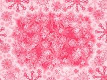 Crimson background with snowflakes stock photos