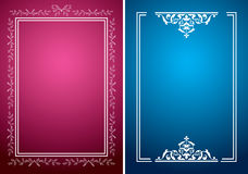 Crimson and blue vector backgrounds with white frames royalty free illustration