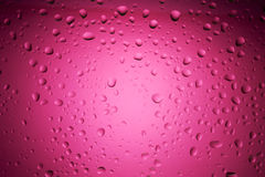 Crimson color water drops on glass Stock Photography