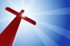 Crimson Cross. Against bright blue sky Stock Image