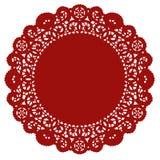 crimson doily lace round Royaltyfri Bild