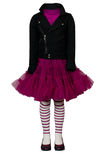 Crimson dress and black jacket for girl Royalty Free Stock Photos