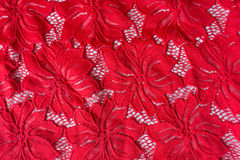 Crimson guipure with flowers pattern Royalty Free Stock Photos