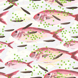 Crimson jobfish steam seamless pattern Royalty Free Stock Photo