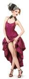 crimson klänningflicka Royaltyfria Bilder