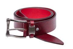 Crimson men leather belt isolated on white Stock Photography
