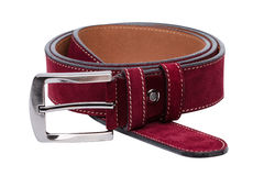 Crimson men leather belt isolated on white Royalty Free Stock Photography