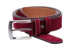 Crimson men leather belt isolated on white. Background Royalty Free Stock Photography