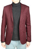 Crimson mens blazer in combination with denim pants, on white. Stock Photo