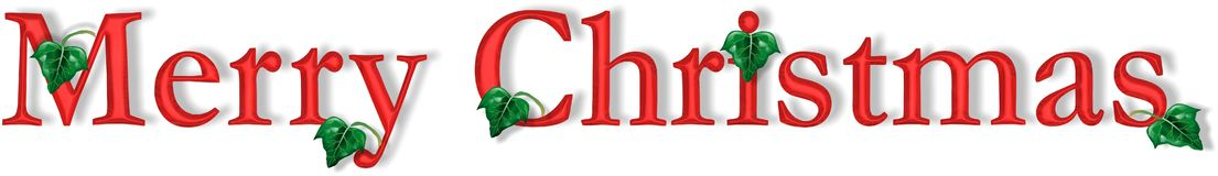 Crimson Merry Christmas. Computer generated Merry Christmas text in Crimson beveled edge, shadow, including ivy leaves.  Full-size shows more detail Royalty Free Stock Photography