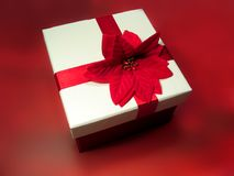 Crimson Present. Flowered present on crimson backing royalty free stock photo