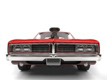 Crimson red American vintage muscle car - front view closeup shot Royalty Free Stock Images