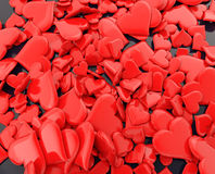 Crimson red hearts - 3d illustration royalty free stock images