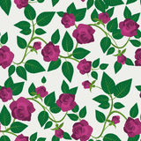 Crimson Roses Seamless Pattern. Decorative textile background with crimson roses and green veiny leaves. Retro floral composition. Seamless in any directions Royalty Free Stock Photography