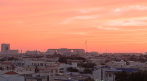 Crimson Sky. Sky colors during sunset in Dubai UAE Stock Photos