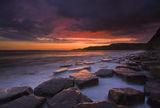 Crimson sunset at Kimmeridge Royalty Free Stock Photography