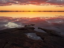 Crimson sunset  at lake Royalty Free Stock Image