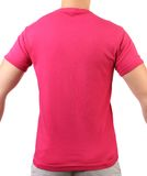 Crimson T-shirt on a body. Back. Royalty Free Stock Photography