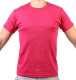 Crimson T-shirt on a body. Front. Royalty Free Stock Photo