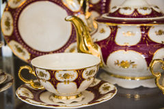 Crimson tea set Stock Photo