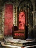 Crimson throne room. Fantasy crimson throne room in a castle royalty free illustration