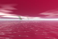 Crimson water. Red and pink water and skys Stock Photography