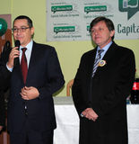 Victor Ponta and Crin Antonescu. At press conference in Alba Iulia on 1 December, Romanias National Day Stock Image