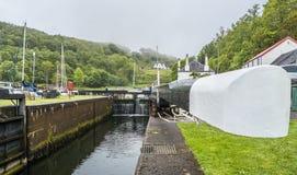 Crinan在Crinan,苏格兰的运河锁 库存照片