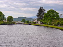 Crinan canal. Open basin at the Crinan canal, Scotland, UK Royalty Free Stock Image