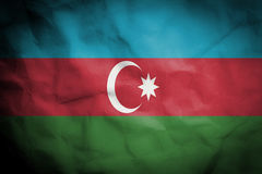 Crinked paper background with blending  Azerbaijan flag Royalty Free Stock Photography