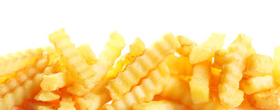 Crinkle cut fried potato chips banner Stock Photo